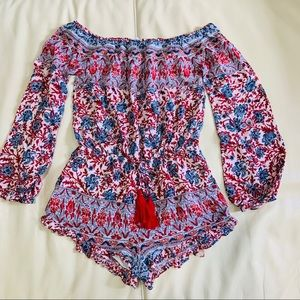 Boho romper floral with tassel Sz Small